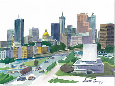 City Painting - Atlanta Skyline With State Capitol by Scott Serafy