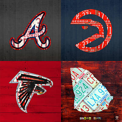 Atlanta Sports Fan Recycled Vintage Georgia License Plate Art Braves Hawks Falcons Plus State Map Art Print by Design Turnpike