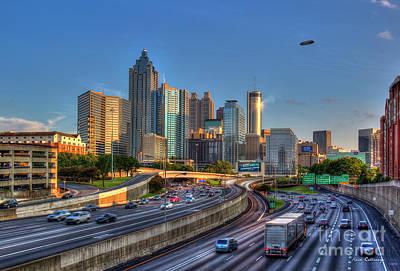 Photograph - Atlanta Sunset 3 Good Year Blimp Overhead  Cityscape Art by Reid Callaway