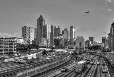 Photograph - Atlanta Sunset Good Year Blimp Overhead Cityscape Art by Reid Callaway