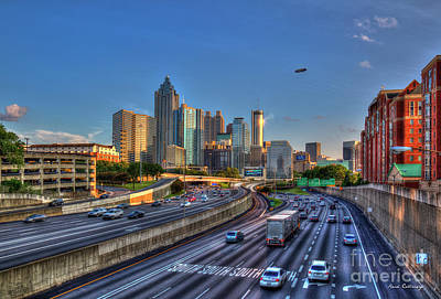 Photograph - Atlanta Sunset 2 Goodyear Blimp Overhead  Cityscape Art by Reid Callaway