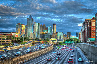 Photograph - Atlanta Sunset Reflections Cityscape Art by Reid Callaway