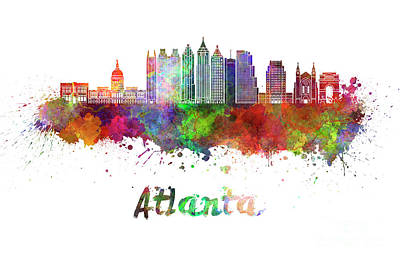 Atlanta Painting - Atlanta V2 Skyline In Watercolor by Pablo Romero