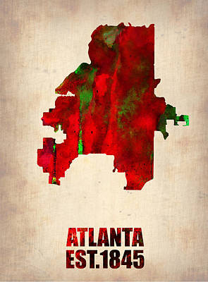 Atlanta Watercolor Map Art Print