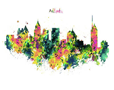 Skylines Mixed Media - Atlanta Watercolor Skyline  by Marian Voicu