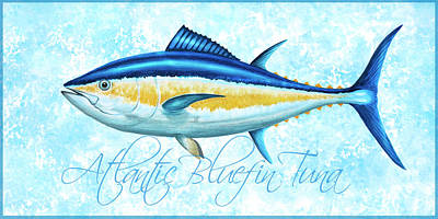 Wall Art - Painting - Atlantic Bluefin Tuna - Blue Sponge With Blue Border by Guy Crittenden