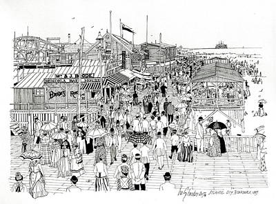 Photograph - Atlantic City Boardwalk 1889 by Ira Shander