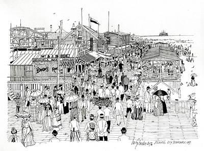 Drawing - Atlantic City Boardwalk 1889 by Ira Shander