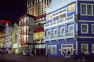 Art Print featuring the photograph Atlantic City Boardwalk At Night by Sally Weigand