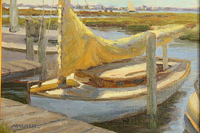 Atlantic City Cat Boat Art Print by Marianne Kuhn