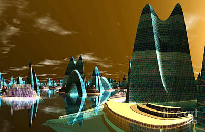 Cities Of The Future In The Year 2498 Mixed Media - Atlantic City by Heinz G Mielke