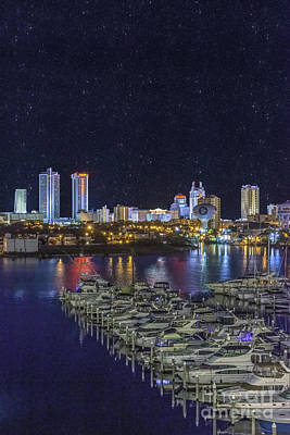 Photograph - Atlantic City Marina Night Vertical 2 by David Zanzinger