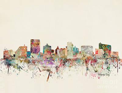 Painting - Atlantic City Skyline by Bleu Bri