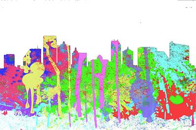 Digital Art - Atlantic City Skyline Nj-splish  by Marlene Watson