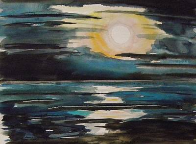 Painting - Atlantic Full Moon by John Williams