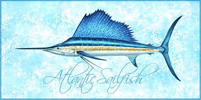 Wall Art - Painting - Atlantic Sailfish Watercolor With Blue Border by Guy Crittenden