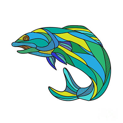 Sculling Digital Art - Atlantic Salmon Jumping Drawing  by Aloysius Patrimonio