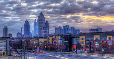 High School Of Art And Design Photograph - Atlantic Station Cloudy Day Atlanta Midtown Cityscape Art by Reid Callaway