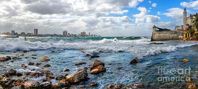 Photograph - Atlantic Waves Hit Havana, Cuba by Jose Rey