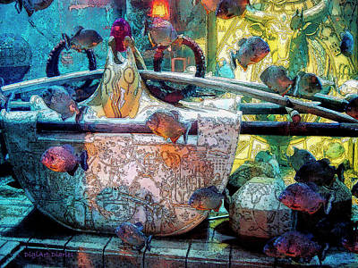 Atlantis Digital Art - Atlantis Aquarium In Watercolor by DigiArt Diaries by Vicky B Fuller