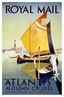 Royalty-Free and Rights-Managed Images - Atlantis Autumn Cruises - Sailboats and Yachts in a harbor - Royal Mail - Vintage Advertising Poster by Studio Grafiikka