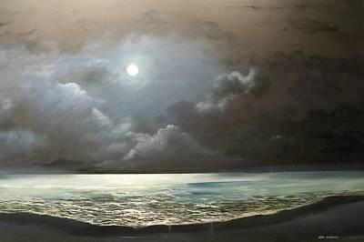 Art Print featuring the painting Atlantis Moon by Ken Ahlering