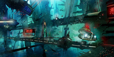 Atlantis Painting - Atlantis Noir by Luis Peres