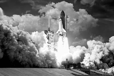 Atlantis Shuttle Launch B W Art Print