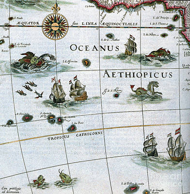 Drawing - Atlas, Aethiopian Sea, 1662. by Granger