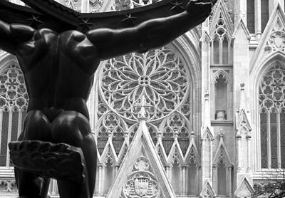 Photograph - Atlas And St. Patrick's Cathedral by Michael Dorn