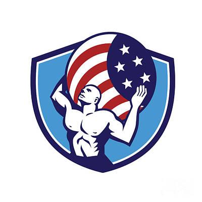 Muscular Digital Art - Atlas Carrying Globe Usa Flag Crest Retro by Aloysius Patrimonio
