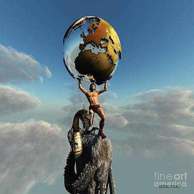 Atlas Greek God Art Print by Corey Ford