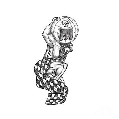 Atlas Lifting Globe Racing Flag Tattoo Art Print