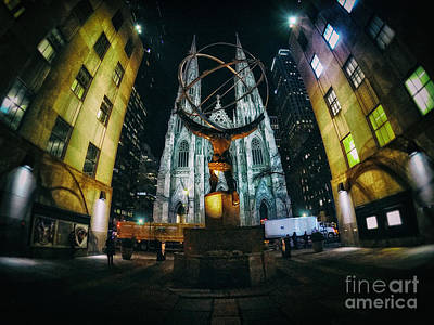 Photograph - Atlas Statue and St.Patrick's Cathedral at Night Wide Angle by Nishanth Gopinathan