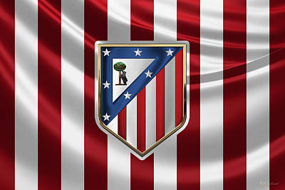 Digital Art - Atletico Madrid - 3d Badge Over Flag by Serge Averbukh