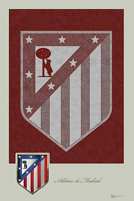 Digital Art - Atletico Madrid - 3d Badge Over Vintage Logo by Serge Averbukh