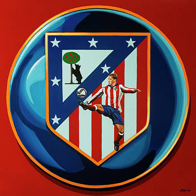 Acryl Painting - Atletico Madrid Painting by Paul Meijering
