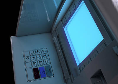 Copy Machine Digital Art - Atm Facade Closeup Illuminated by Allan Swart