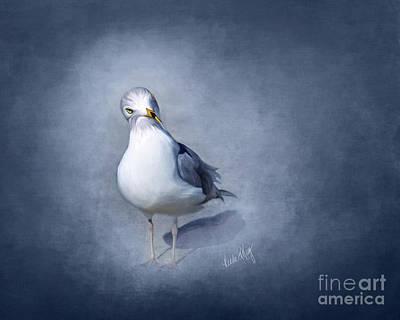 Linda King Digital Art - Atmospheric Seagull by Linda King