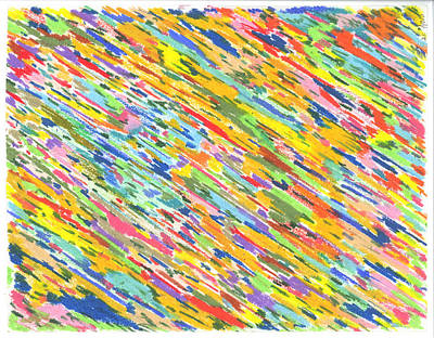 Colorful Abstract Drawing - Atomic Rain by Larry Oldham