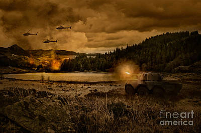Helicopter Photograph - Attack At Nightfall by Amanda Elwell