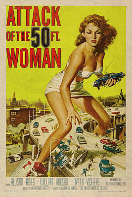 Feet Mixed Media - Attack Of The 50 Ft Woman Vintage Movie Poster by Design Turnpike