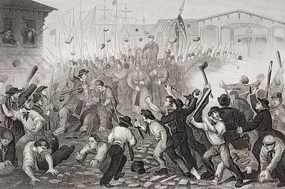 Baltimore Drawing - Attack On The Massachusetts 6th At by Vintage Design Pics