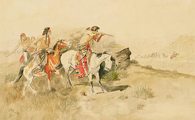 Red Rocks Drawing - Attack On The Muleteers by Charles Marion Russell