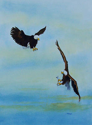 Painting - A Fight About Fish by Norman Freyer