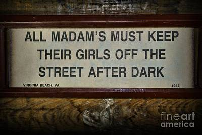 Prostitution Photograph - Attention All Madams by Paul Ward