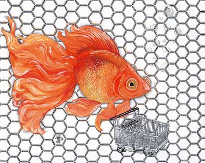 Fish Cart Painting - Attention Goldfish Shoppers by Joshua Modlin