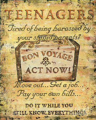 Attention Teenagers Print by Debbie DeWitt