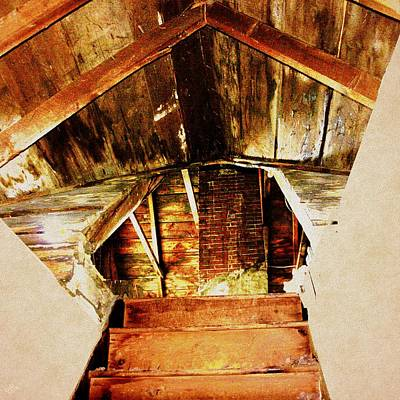 Digital Art - Attic Staircase by Cliff Wilson
