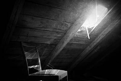 Photograph - Attic Window Black And White by Digital Art Cafe